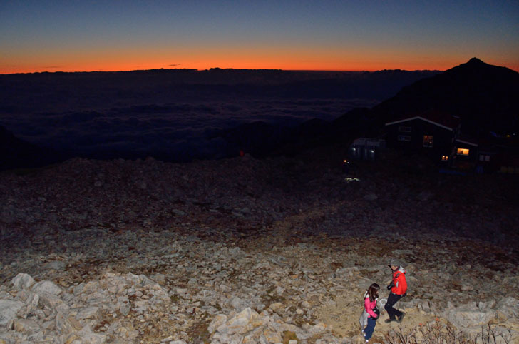 大天井岳、日の出